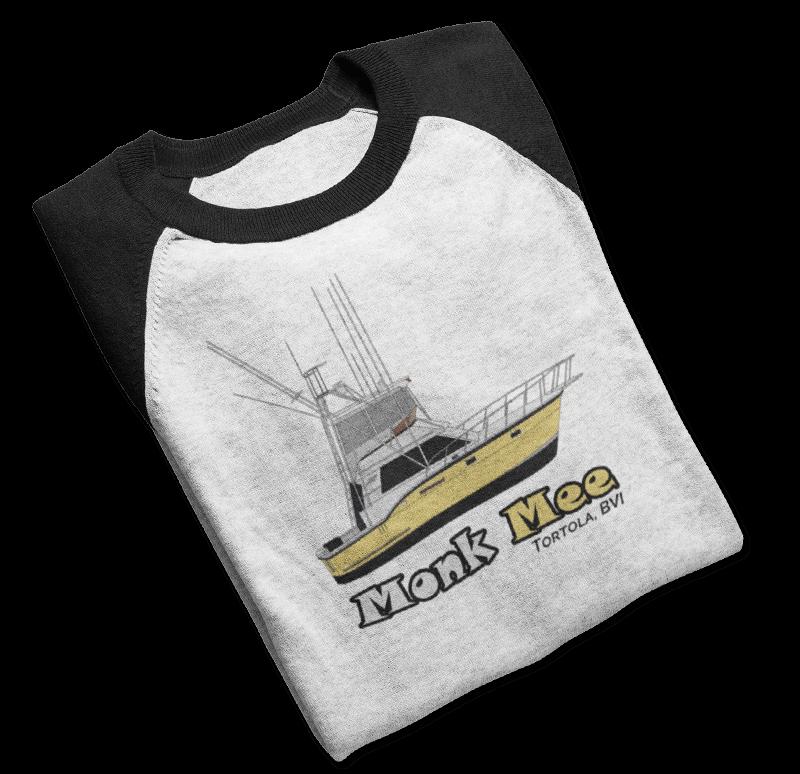 An image of a custom yacht raglan tshirt from Custom Yacht Shirts.