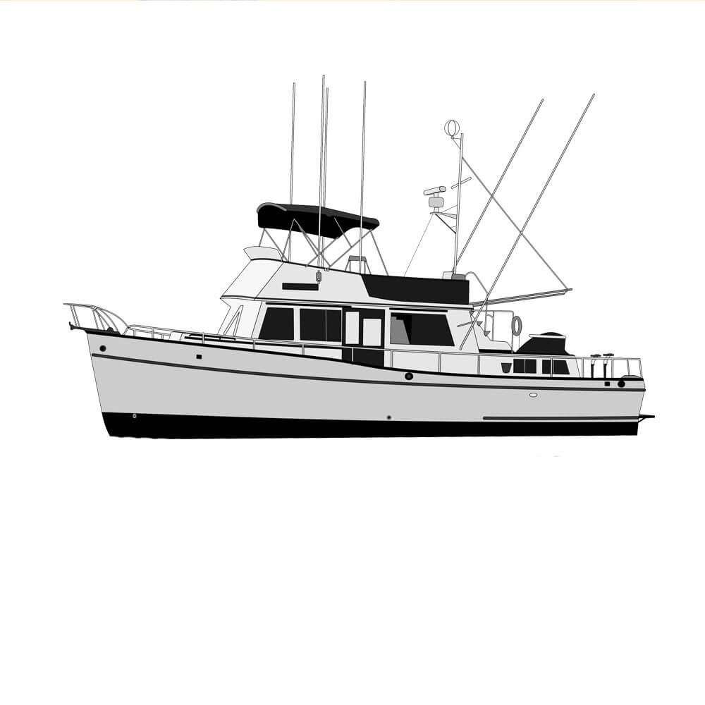 An image of a converted vector line art digital art image of a 42 grand banks converted by custom yacht shirts.
