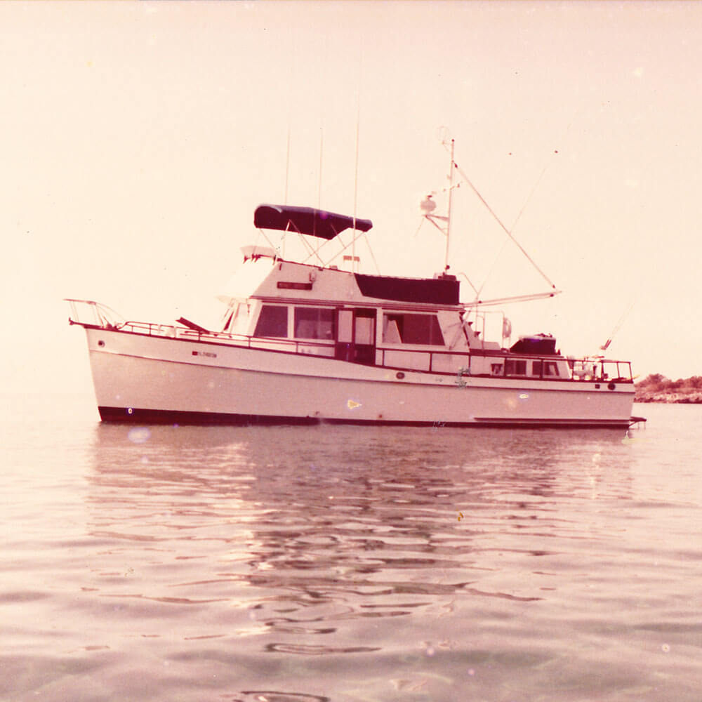 An image of a 42 foot Grand Banks photo prior to conversion to vector line art with Custom Yacht Shirts.