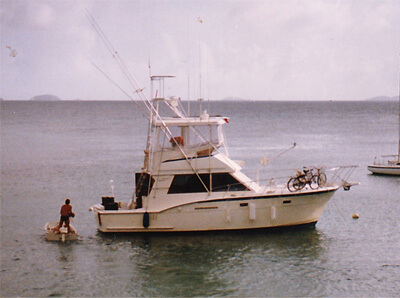 An image of a Hatteras 37 prior to digital art conversion at Custom Yacht Shirts.