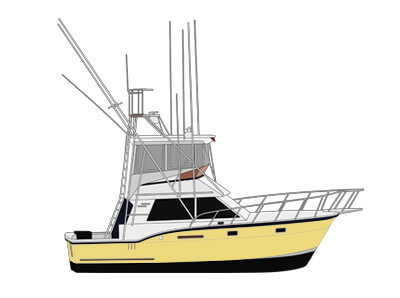 An image of completed digital line artwork of a hatteras yacht from Custom Yacht Shirts.