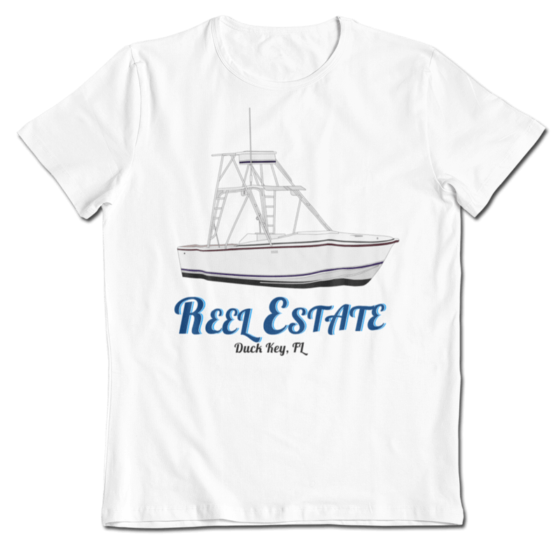 "An image of a custom yacht t-shirt with the fishing boat ""Reel Estate"" on it created by Custom Yacht Tshirts."