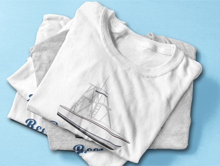 An image of a stack of custom yacht shirts available from CustomYachtShirts.com