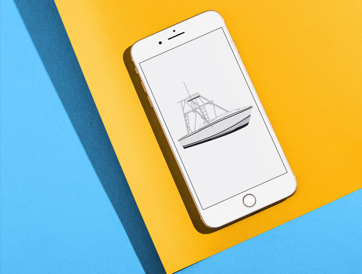 An image of yacht art on a phone representing orders that already have existing art.