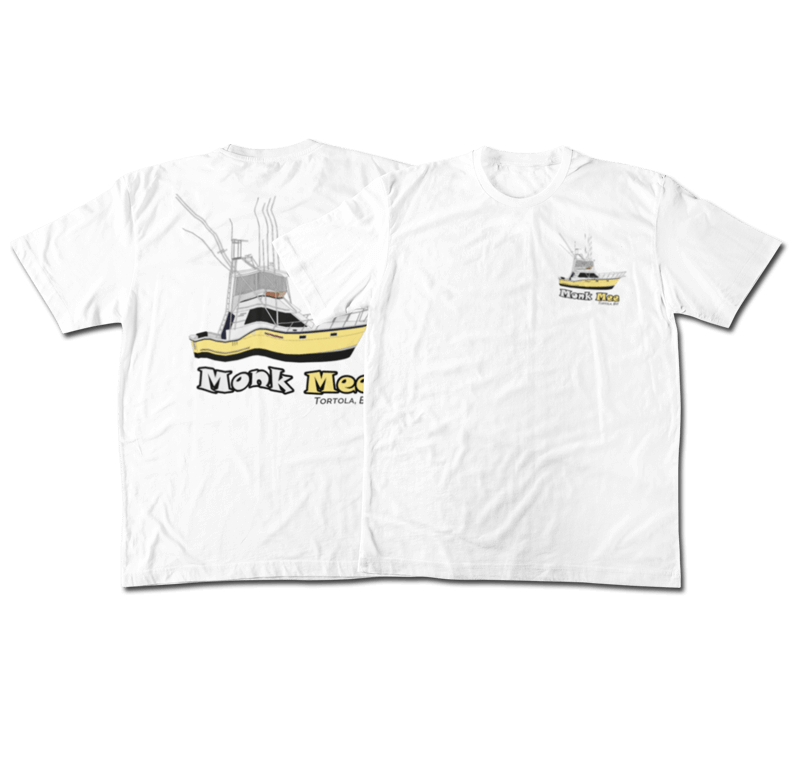 An image of the front and back of a custom yacht shirt front and back