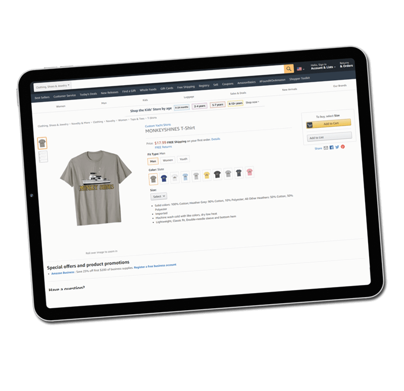 An image of a custom yacht shirts private Amazon page for custom yacht gear on a ipad.