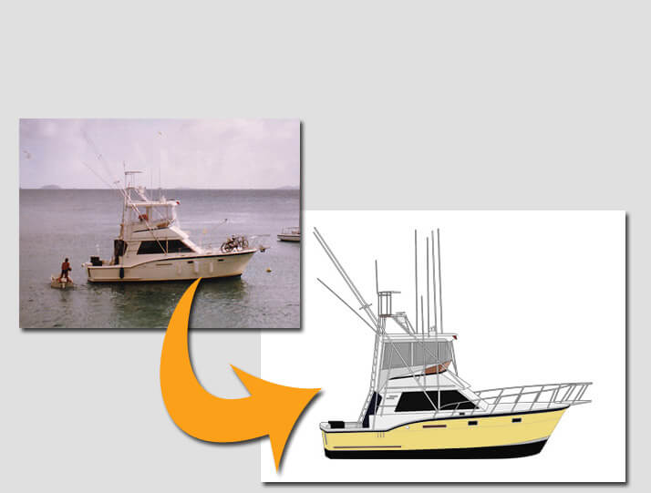 An image of a photo to digital art converion for custom yacht gear orders.