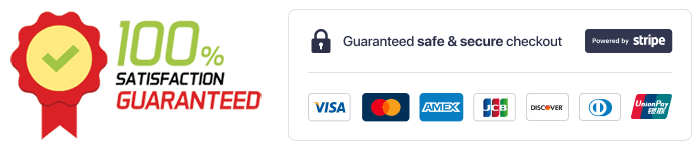An image of a 100% satisfaction badge along with a powred by stripe secure payments badge.