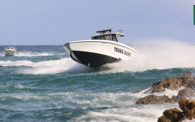South Florida Boats against Inlet Waves