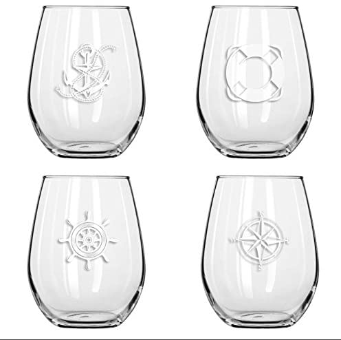 An image of shatter-proof plastic nautical wine glassses.