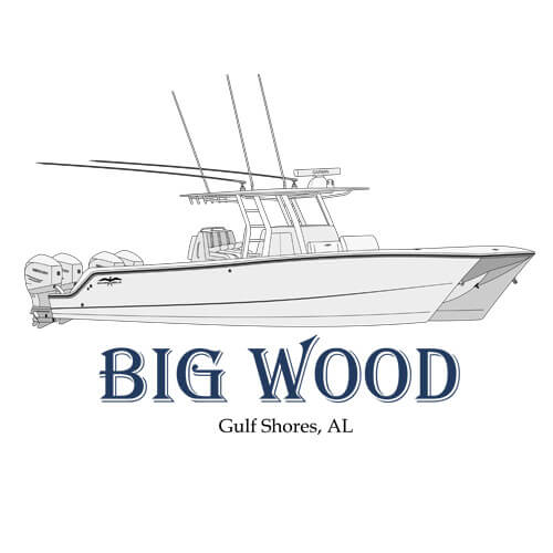 An image of the boat art line drawing of the yacht Big Wood