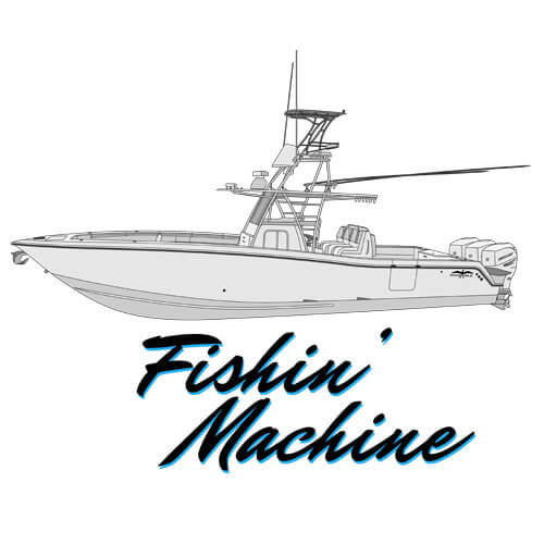 An image of the boat line drawing of the 39' Invincible Fishing Machine