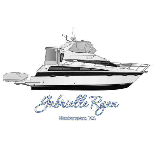 An image of the boat line drawing of the yacht Gabrielle Ryan