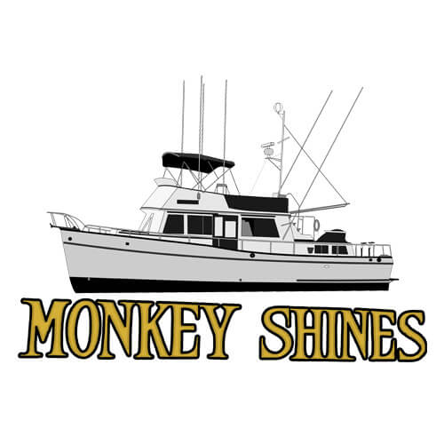 An image of the yacht line drawing of the yacht Monkey Shines