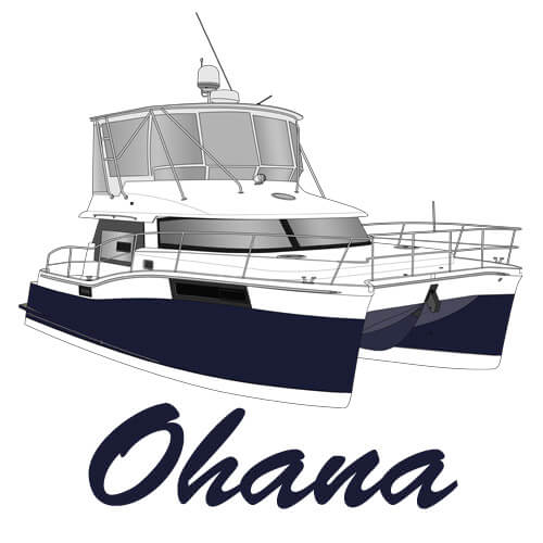 An image of the boat art line drawing of the yacht Ohana