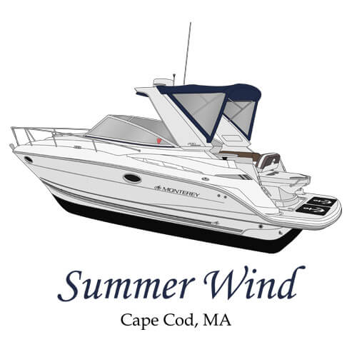 An image of the boat line art drawing of the boat Summer Wind