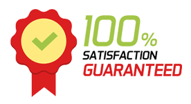 An image of a 100% satisfaction badge that shows our commitment to customer service.