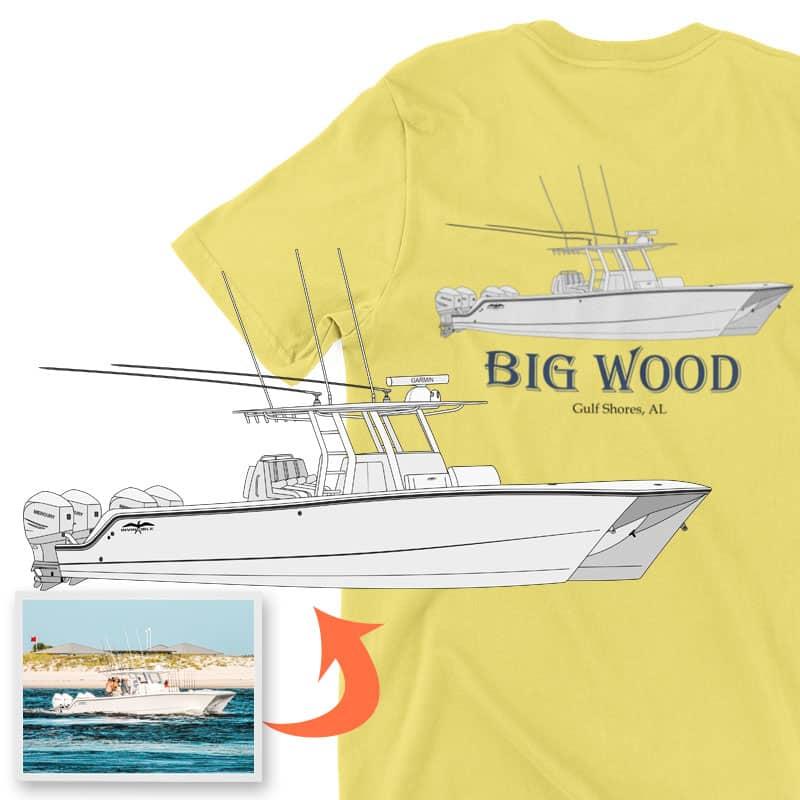 An image of the Big Wood custom apparel digital art conversion project from Custom Yacht Shirts.