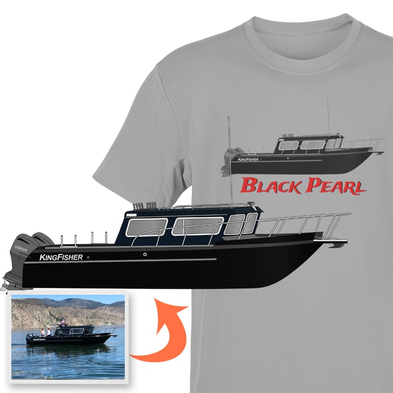 An image of the Black Pearl custom boat apparel digital art conversion project from Custom Yacht Shirts.