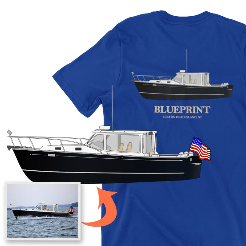 An image of the Blueprint custom boat apparel digital art conversion project from Custom Yacht Shirts.