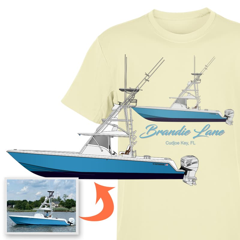 An image of the Brandie Lane custom boat apparel digital art conversion project from Custom Yacht Shirts.