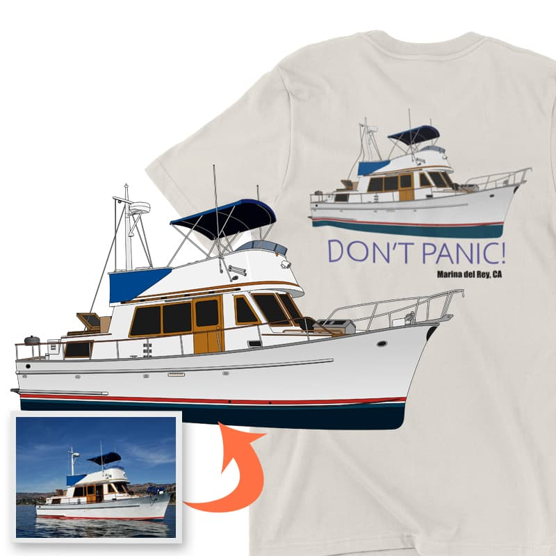 An image of the Don't Panic custom boat apparel digital art conversion project from Custom Yacht Shirts.