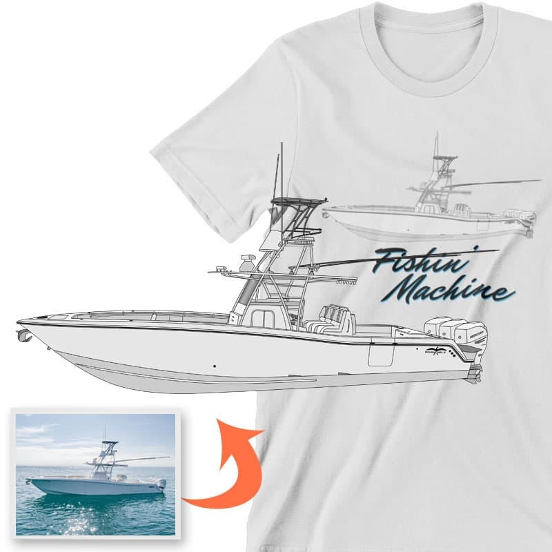 An image of the Fishing Machine custom apparel digital art conversion project from Custom Yacht Shirts.