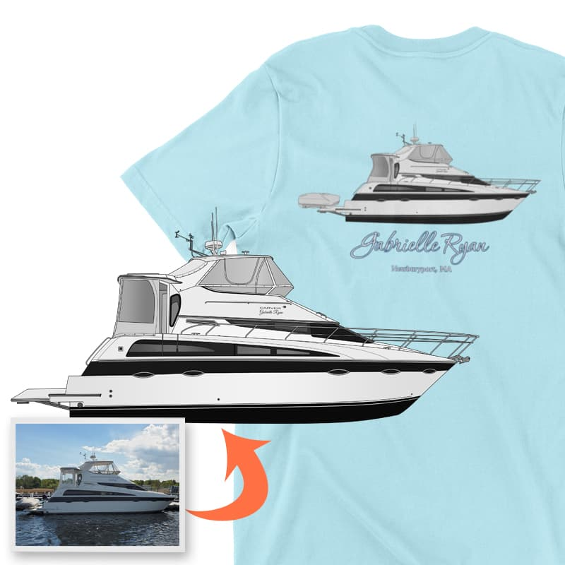 An image of the Gabrielle Ryan custom boat apparel digital art conversion project from Custom Yacht Shirts.