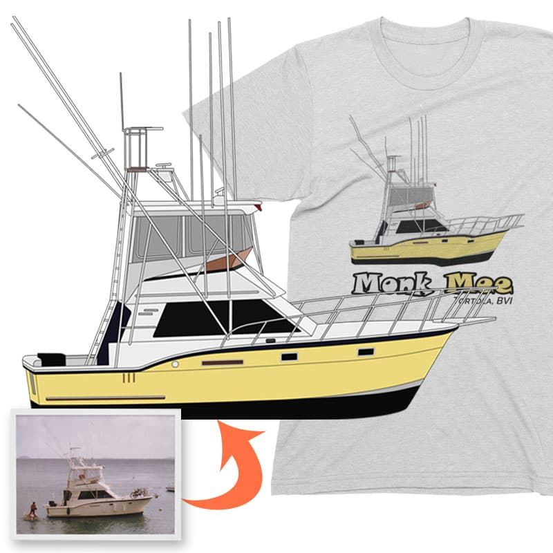 An image of the Monk Mee custom boat apparel digital art conversion project from Custom Yacht Shirts.