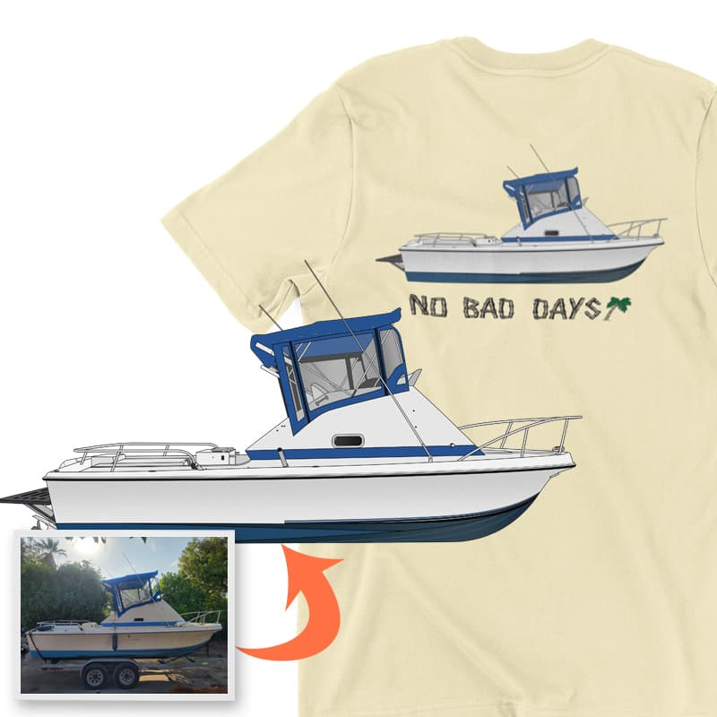 An image of the No Bad Days custom boat apparel digital art conversion project from Custom Yacht Shirts.