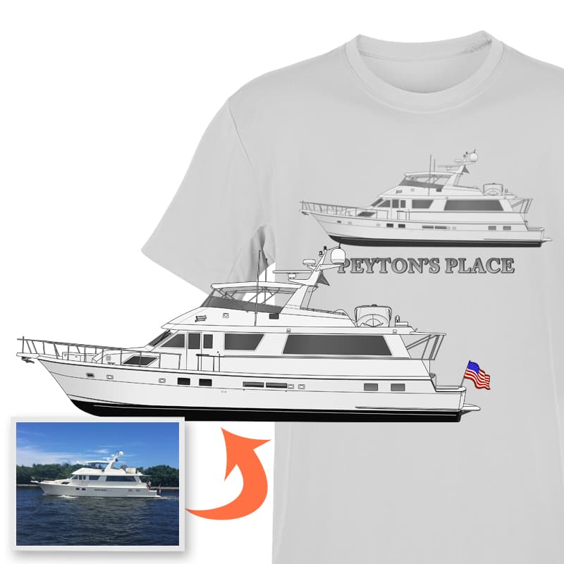 An image of the Peyton's Place custom boat apparel digital art conversion project from Custom Yacht Shirts.