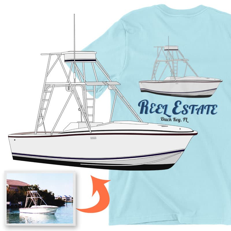 An image of the Reel Estate custom boat apparel digital art conversion project from Custom Yacht Shirts.