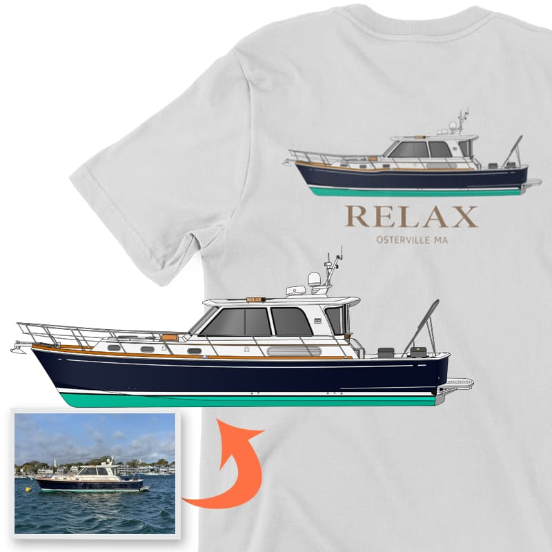 An image of the Relax custom apparel digital boat art conversion project from Custom Yacht Shirts.